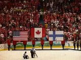 Team Canada wins Men's Ice hockey gold medal - singing of O Canada, Canadian National Anthem