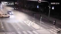 Reckless driver causing accident.