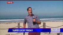 Big flying Bug scares Reporter during Live Tv Report