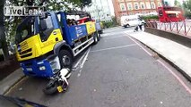 Lorry wipes Ducati Monster out...CRASH!