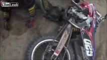 Dirt Bike Runs over a Bear!