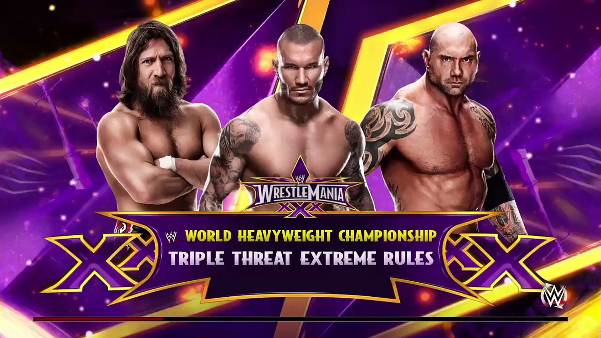 WWE 2K RIVALRIES - Daniel Bryan vs. Randy Orton vs. Batista | WWE Wrestlemania 30 | WWE 2K15 Gamepla