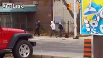 Couple Of Guys Punch And Kick A Meth Head In Middle Of Street...ouch.