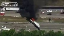 18 wheel truck collided and exploded in flames