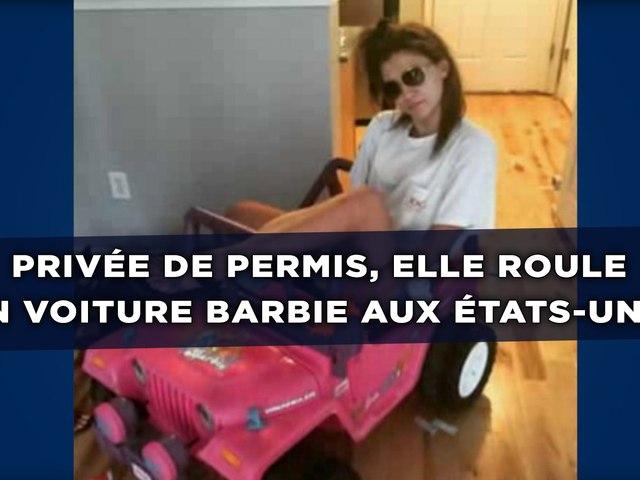 priv e de permis elle roule en voiture barbie aux tats. Black Bedroom Furniture Sets. Home Design Ideas