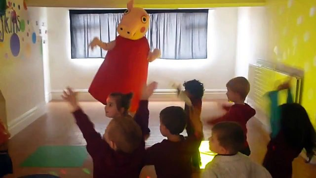Peppa Pig dances with children from Daisykins nursery in Rugby