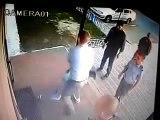 Dumb suspect slams into metal door at police station