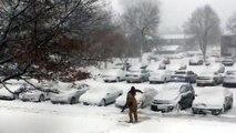 Apartment Maintenance Shoveling Snow Onto Cars