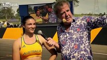 Hot Australian Hurdler Michelle Jenneke vs GTR on Top Gear with Jeremy Clarkson & ofcourse her Sexy warmup routine.