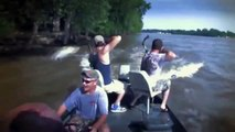 Shooting fish on river that many fish jump to your canoe