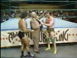 Roddy Piper smashes beer bottle on head. Nice blood flow.