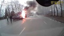 Truck and car collide, erupts into flames