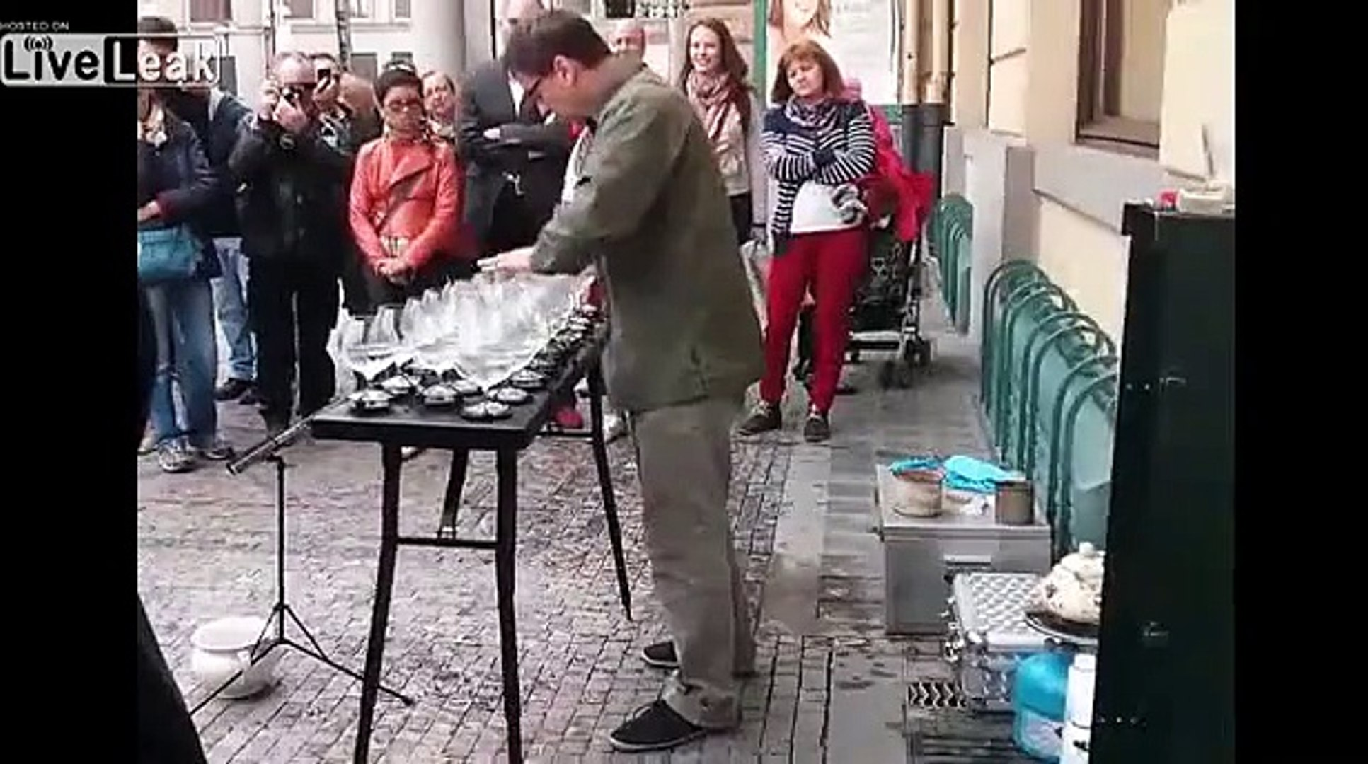 Amazing musician plays glasses on the streets of Prague