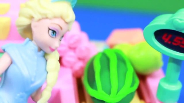 Peppa Pig goes Shopping Disney Frozen Queen Elsa Cashier Play Doh Watermelon AllToyCollector