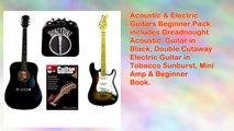 Acoustic Electric Guitars Beginner Pack Dreadnought Acoustic Guitar in Black