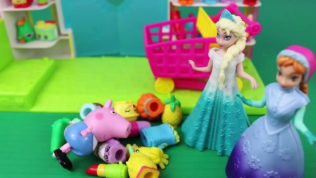 Peppa Pig Runaway George! Shopkins Adventure with Frozen Elsa and Anna Dolls DisneyCarToys