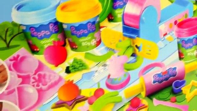 Peppa Pig Mega Dough Set Play Doh Peppa Toys Shapes Colors Moulds Cookies Fruits Vegetable Playdough