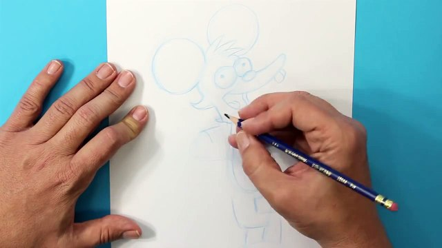 Cómo dibujar Pica (Rasca y Pica, Tomy y Daly) - How to draw Itchy (Itchy and Scratchy, The Simpsons)