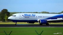 Blue Air Boeing 737-400 HARD Landing in Strong Winds!   Brussels Airport