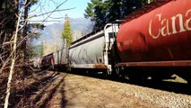 CN Grain Train at Hope BC @ Trans Canada Highway and the CN Mainline