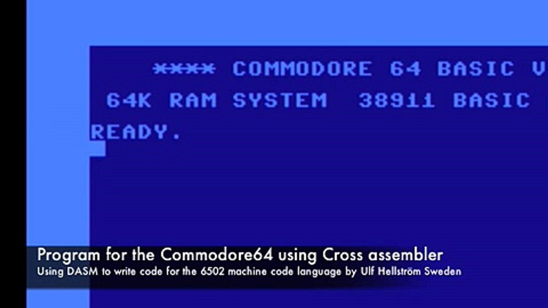 Using DASM Cross Assembler to write code for C64