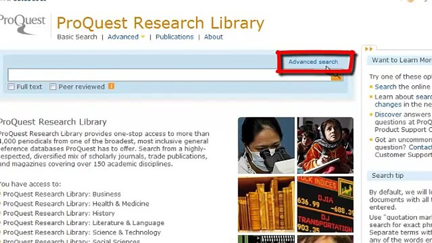 Searching Proquest Research Library