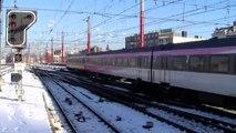Treinen in de sneeuw, België. Les trains dans la neige, Belgique(Belgium, Belgien)