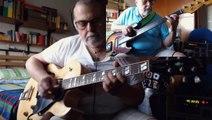 Midnight Blue - 2 alone - 2001 Gibson ES175 archtop guitar - 1978 Fender Jazz Bass Fretless