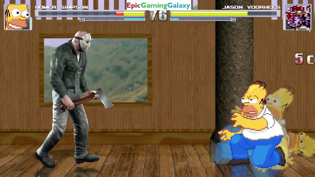 Jason Voorhees VS Homer Simpson From The Simpsons Series In A MUGEN Match / Battle / Fight