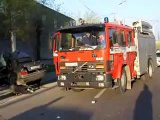 Vehicle smashes through concrete barrier in Yerevan.25.04.2011