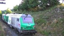 Au petit matin du 15 Juillet, (7 h 15), le train de l'eau MONT-DORE, descend sur LA BOURBOULE - UM BB 75 063 & 75 067, (les 4 premiers wagons sur 12)- 15.07.2015.