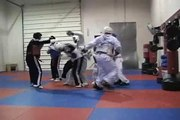 TKD six vs one tae kwon do sparring - fighting multiple attackers - www.neffmartialarts.com