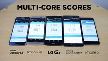 LG G4 vs Galaxy S6 vs iPhone 6 vs HTC One M9 vs Galaxy Note 4 hız testi benchmark test