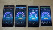 Sony Xperia Z3  vs. Sony Xperia Z2 vs. Sony Xperia Z1 vs. Sony Xperia Z - Internet Speed Test! (4K)