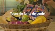 Tacos de fajitas de cerdo y mango