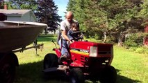 Grampy and Mullet getting ready to mow the lawn