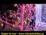 Saigon Vietnam, Fête des lumières HCM Ville, rues lumière décorative, chanteurs de rue