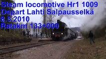 Steam locomotive Hr1 1009 departs Lahti Salpausselkä. Hr1 1009 Ukko-Pekka lähdössä Heinolaan