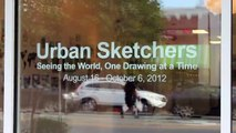 Urban Sketchers art exhibit at Ackland Art Museum Store