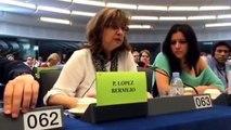Paloma López, eurodiputada de IU pregunta a candidato a Comisario de Economía Katainen