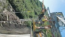 Bungee Jumping in Verzasca - 220 m free fall - camera up to the jump!