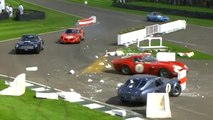 Shelby Cobra smashes through barriers at Goodwood
