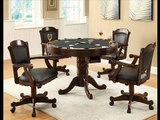 3-in-1 Oak Finished Wood Pool, Game, Dining Table and 4 Chairs Set; multi purpose dining table