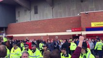 Manchester United fans V Liverpool fans outside Old Trafford 12/09/15