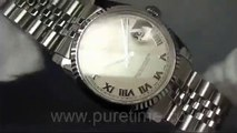 Swiss replica watches replica Rolex DateJust Men SS Plain White Dial Roman Markers on Bracelet sku48
