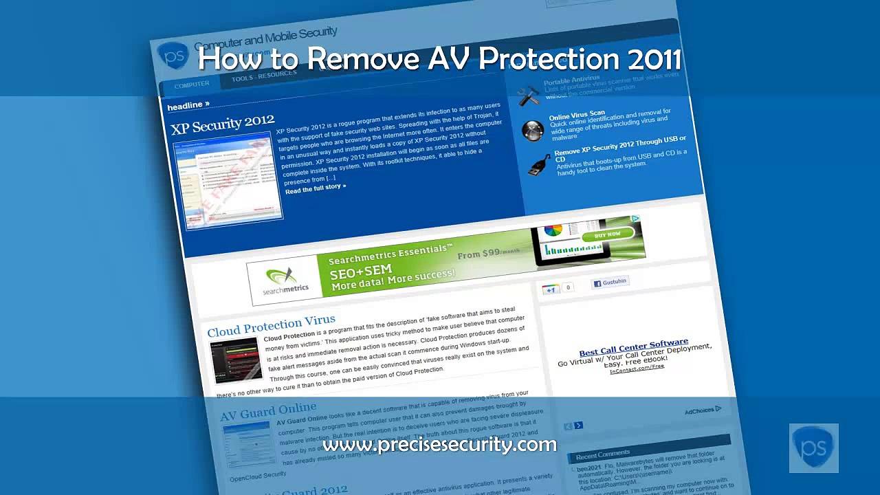"""Remove """"AV Protection 2011"""" Virus Instantly"""