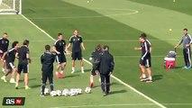 Cristiano Ronaldo kissing Marcelo after a nutmeg - Real Madrid training