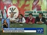Organizaciones sindicales convocan a marcha nacional