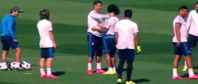 Cristiano Ronaldo hugs nearly all of his Real Madrid teammates in training
