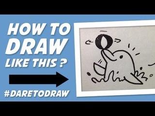 How to Draw a Dolphin - Cara Menggambar Lumba - Lumba